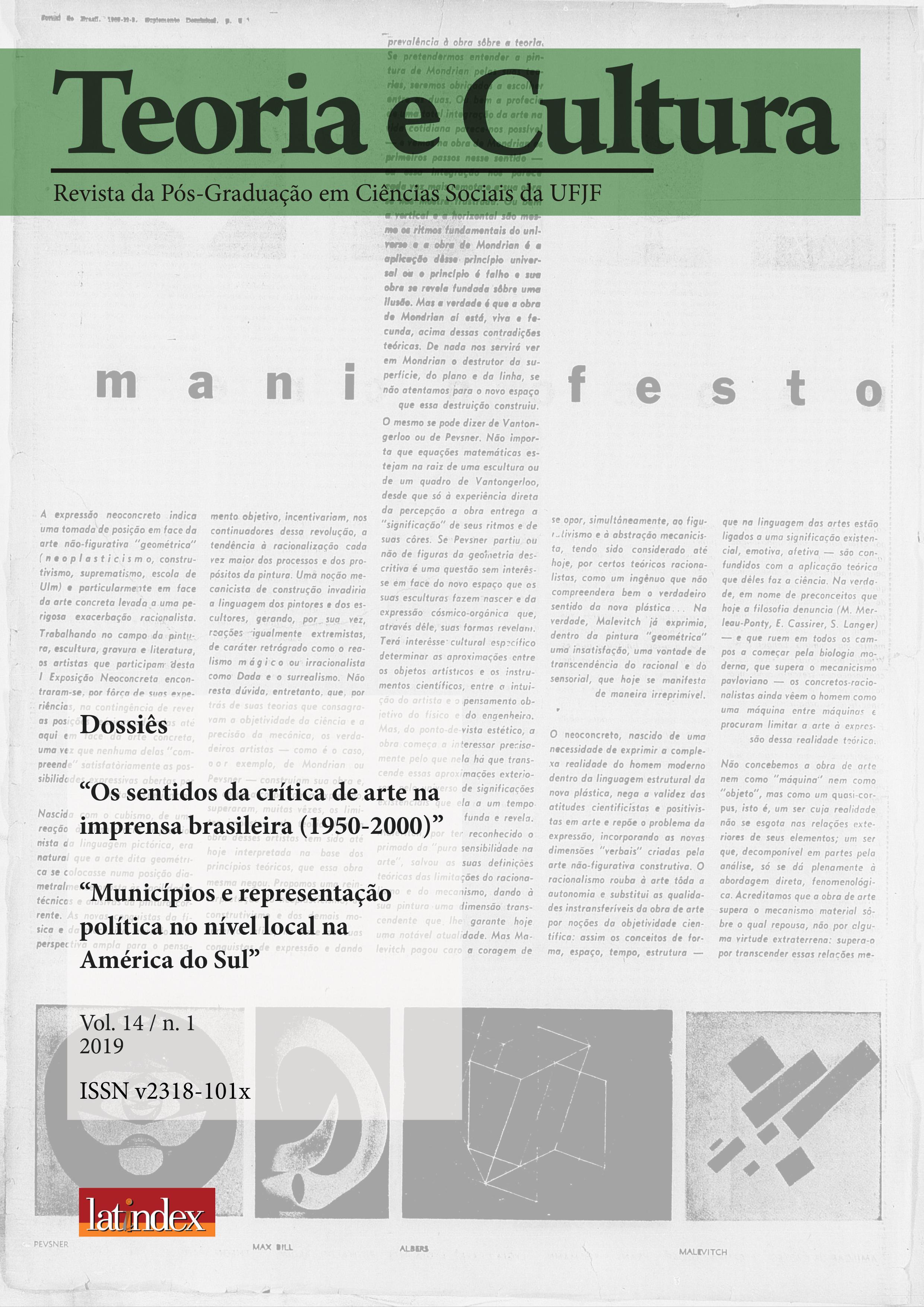 """Visualizar v. 14 n. 1 (2019): """"Os sentidos da crítica de arte na imprensa brasileira (1950-2000)"""" e """"Municípios e representação política no nível local na América do Sul"""""""