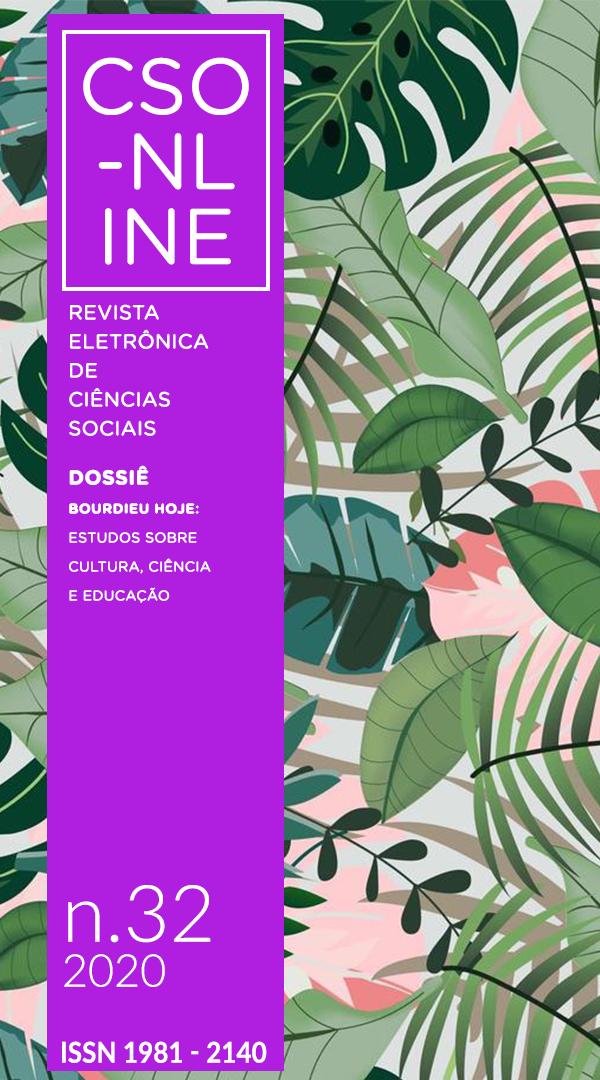 Ilustração de folhagens. Barra lateral roxa com o nome da revista, Título do dossiê publicado, número da edição e ISSN.