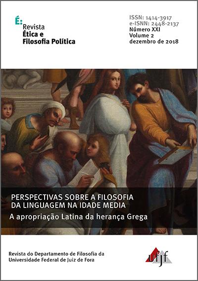 Visualizar v. 2 n. 21 (2018): Perspectivas sobre a Filosofia da Linguagem na Idade Média - I
