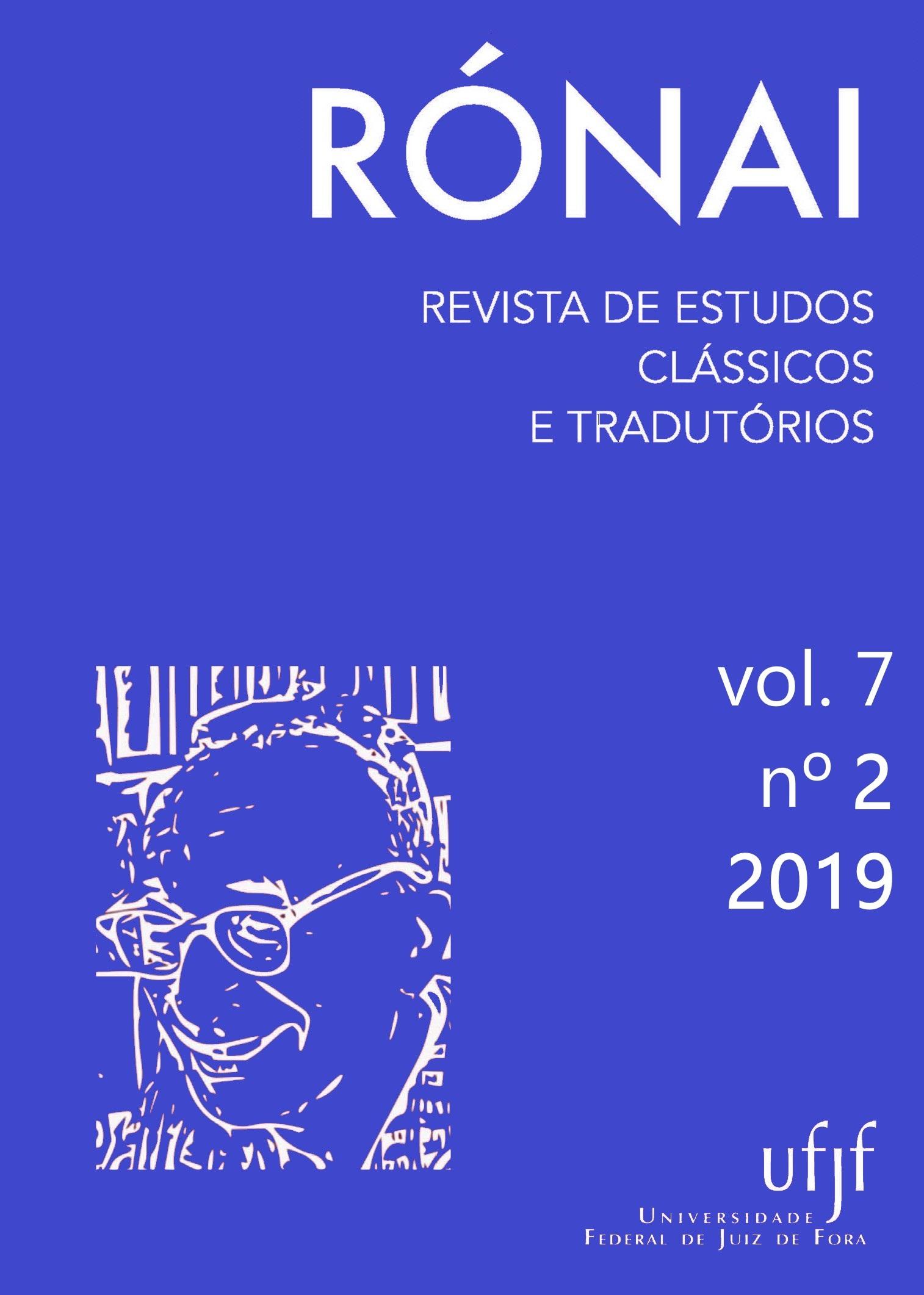 Capa do volume 7, número 2, do ano de 2019 da revista Rónai - Revista de Estudos Clássicos e Tradutórios