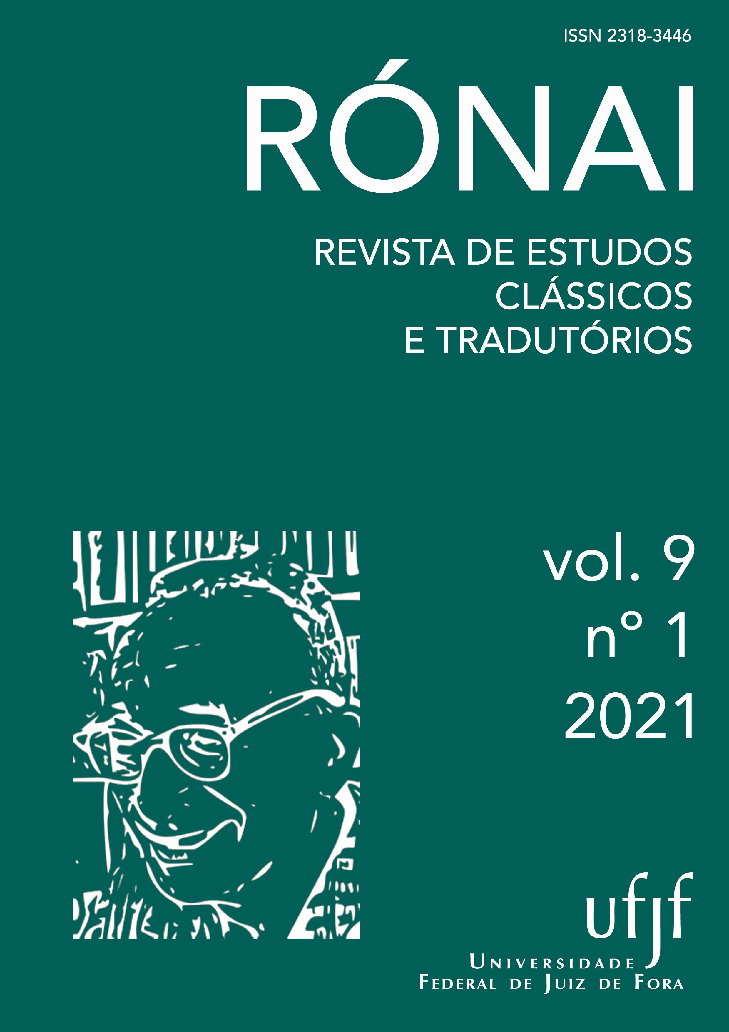 Capa do volume 9, número 1, do ano de 2021 da revista Rónai - Revista de Estudos Clássicos e Tradutórios