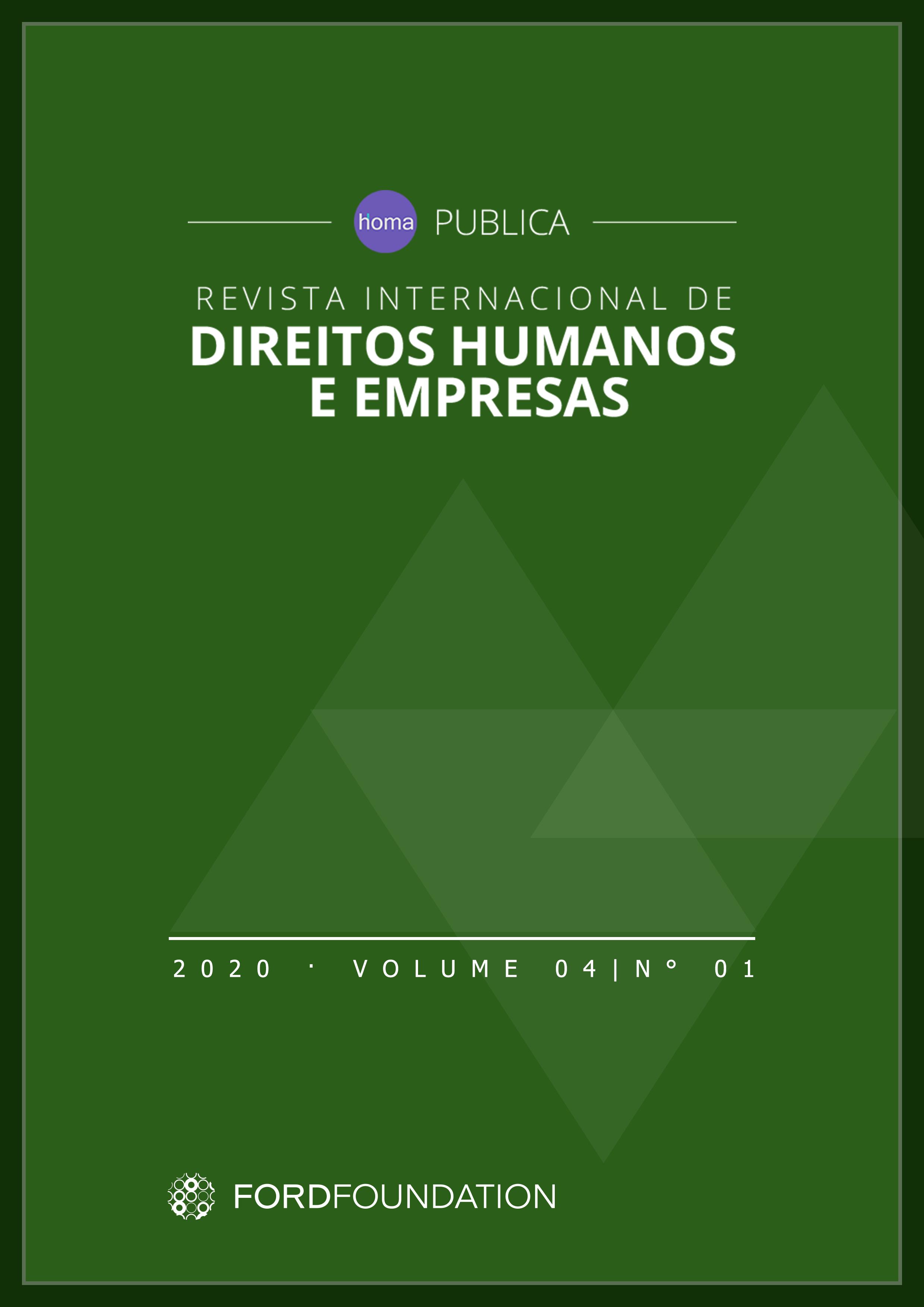 Capa Verde escrito Revista Internacional de Direitos Humanos e Empresas, 2020 Volume 04
